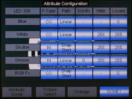 Zuordnen welchen Wert der Scheinwerfer bei welcher Funktion (Highliht, Locate…) einnehmen soll.