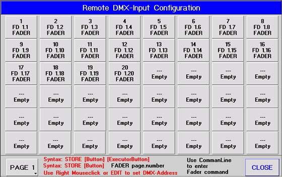 DMX-In als Fadererweiterung / Konfiguration