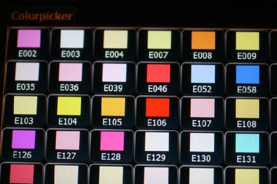 Auswahl der Farbe über Farbfoliennummer